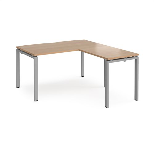 Adapt desk 1400mm x 800mm with 800mm return desk - silver frame and beech top