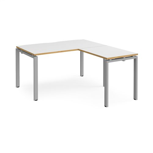 Adapt desk 1400mm x 800mm with 800mm return desk - silver frame and white top with oak edge