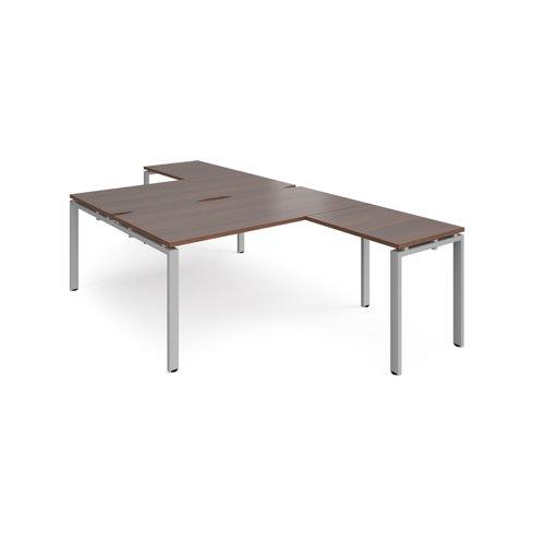 Adapt back to back desks 1600mm x 1600mm with 800mm return desks - silver frame and walnut top