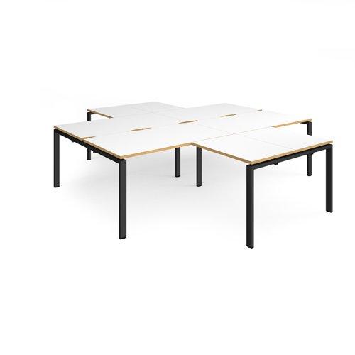 Adapt back to back 4 desk cluster 2800mm x 1600mm with 800mm return desks - black frame and white top with oak edge