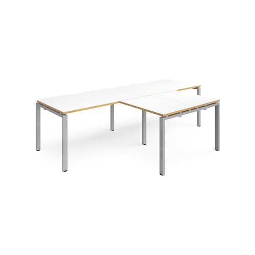 Adapt double straight desks 2800mm x 800mm with 800mm return desks - silver frame and white top with oak edge