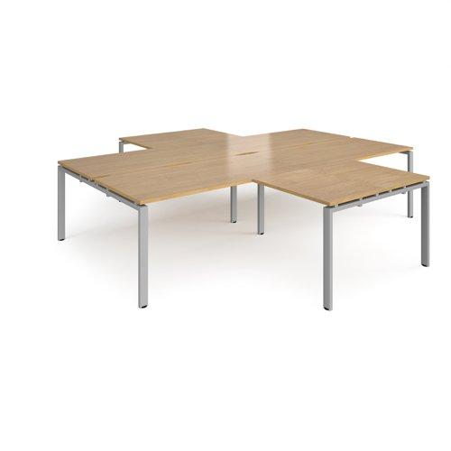 Adapt back to back 4 desk cluster 3200mm x 1600mm with 800mm return desks - silver frame and oak top