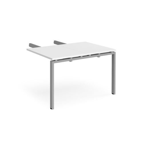 Adapt add on unit double return desk 800mm x 1200mm - silver frame and white top