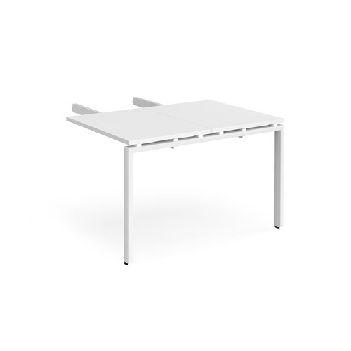 Adapt add on unit double return desk 800mm x 1200mm - white frame and white top