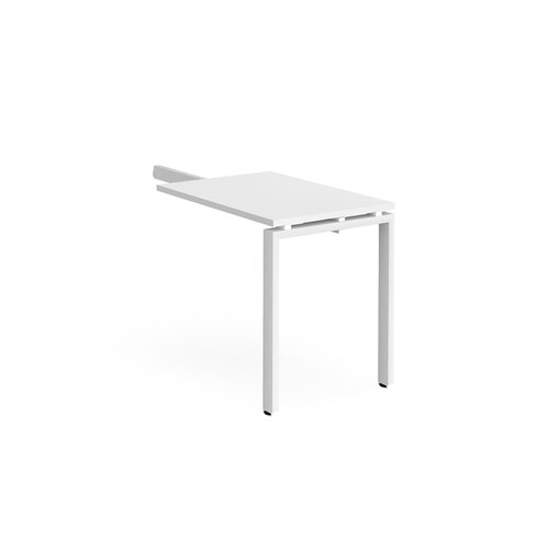 Adapt add on unit single return desk 800mm x 600mm - white frame and white top