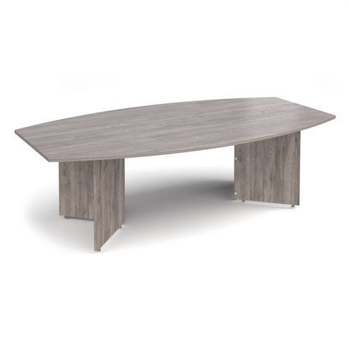 Arrow head leg radial boardroom table 2400mm x 800/1300mm - grey oak