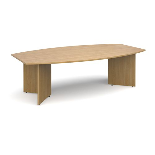 Arrow head leg radial boardroom table 2400mm x 800/1300mm - oak