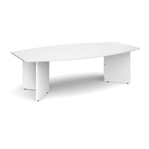 Arrow head leg radial boardroom table 2400mm x 800/1300mm - white