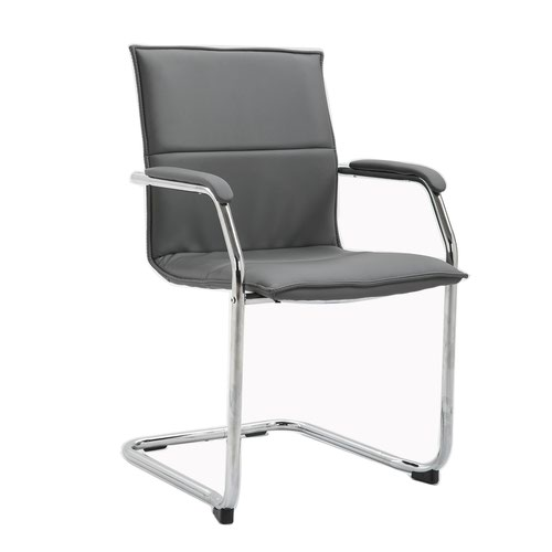 Grey faux leather stackable meeting room cantilever chair