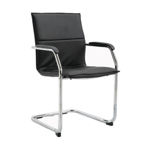 Black faux leather stackable meeting room cantilever chair