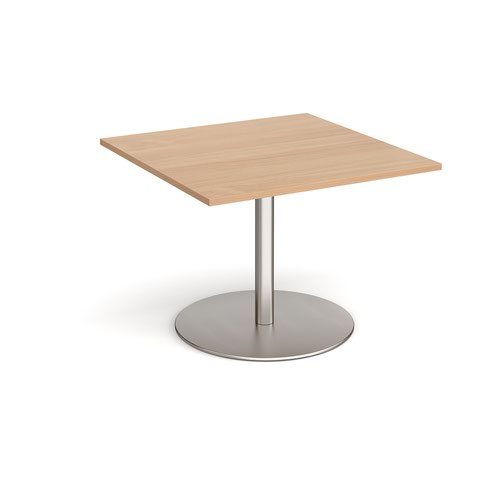 Eternal square extension table 1000mm x 1000mm - brushed steel base and beech top