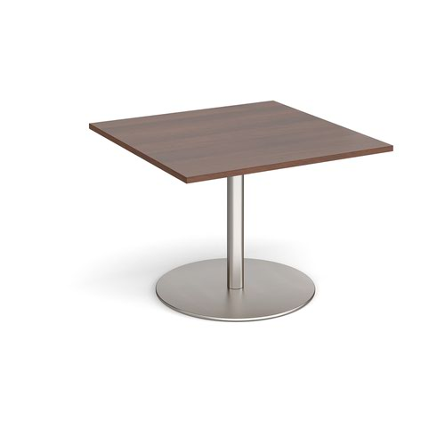 Eternal square extension table 1000mm x 1000mm - brushed steel base and walnut top