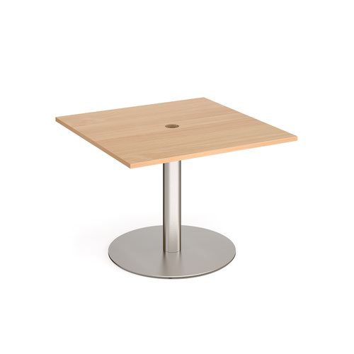 Eternal square meeting table 1000mm x 1000mm with central circular cutout 80mm - brushed steel base and beech top