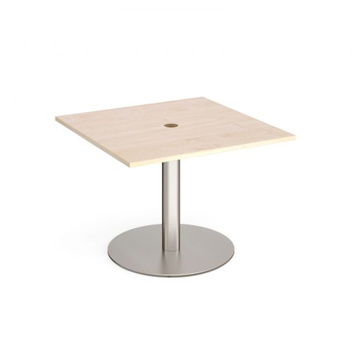 Eternal square meeting table 1000mm x 1000mm with central circular cutout 80mm - brushed steel base and maple top