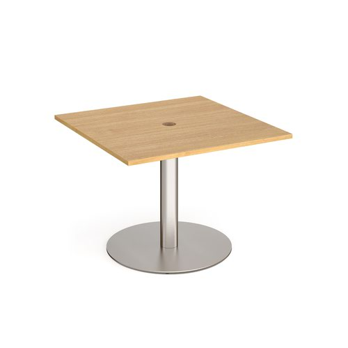 Eternal square meeting table 1000mm x 1000mm with central circular cutout 80mm - brushed steel base and oak top