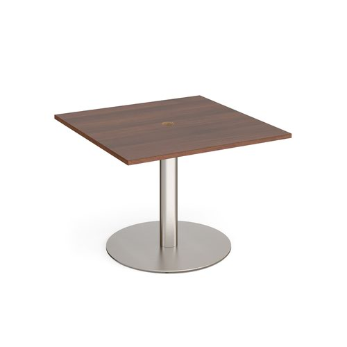 Eternal square meeting table 1000mm x 1000mm with central circular cutout 80mm - brushed steel base and walnut top