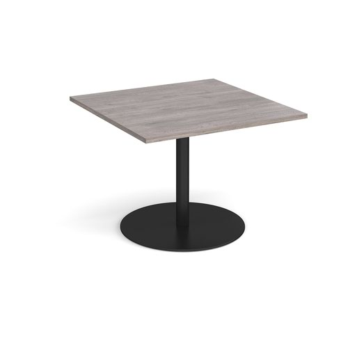 Eternal square extension table 1000mm x 1000mm - black base and grey oak top