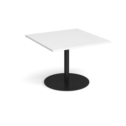 Eternal square extension table 1000mm x 1000mm - black base and white top