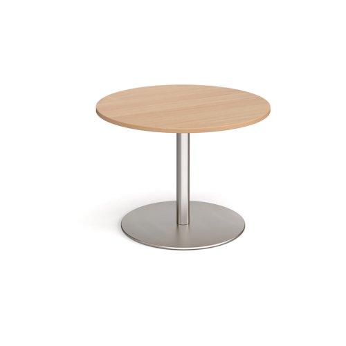 Eternal circular boardroom table 1000mm - brushed steel base and beech top