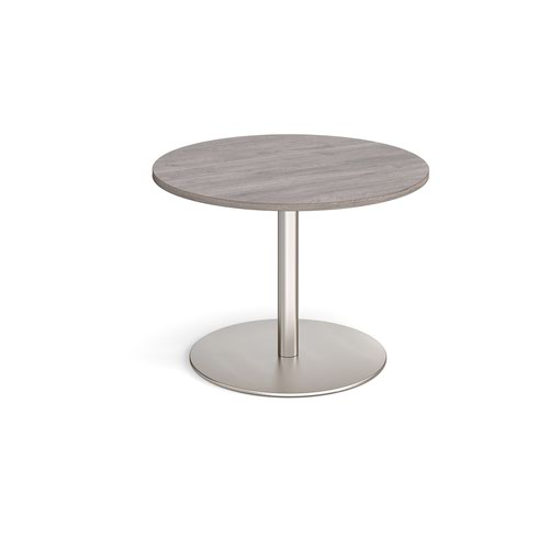 Eternal circular boardroom table 1000mm - brushed steel base and grey oak top