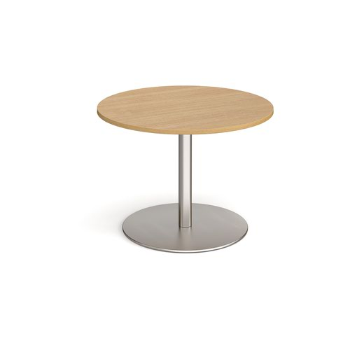 Eternal circular boardroom table 1000mm - brushed steel base and oak top