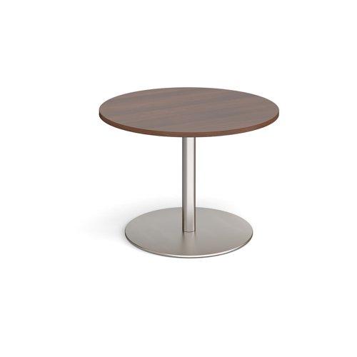 Eternal circular boardroom table 1000mm - brushed steel base and walnut top