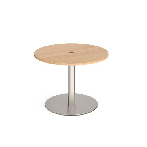 Eternal circular meeting table 1000mm with central circular cutout 80mm - brushed steel base and beech top