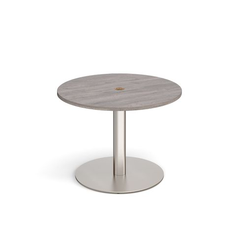 Eternal circular meeting table 1000mm with central circular cutout 80mm - brushed steel base and grey oak top