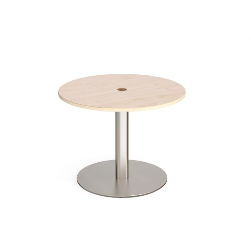 Eternal circular meeting table 1000mm with central circular cutout 80mm - brushed steel base and maple top