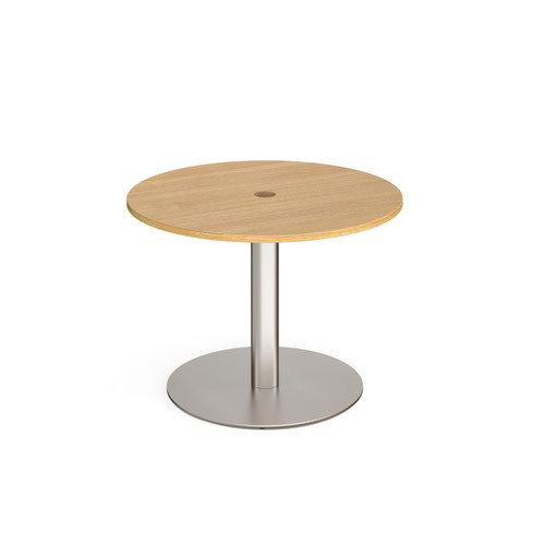 Eternal circular meeting table 1000mm with central circular cutout 80mm - brushed steel base and oak top