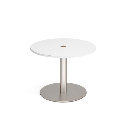 Eternal circular meeting table 1000mm with central circular cutout 80mm - brushed steel base and white top