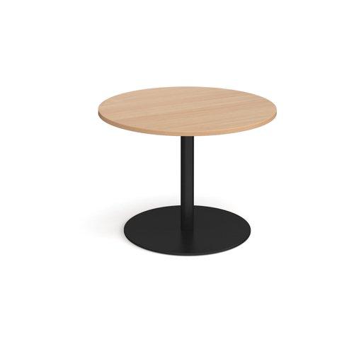 Eternal circular boardroom table 1000mm - black base and beech top