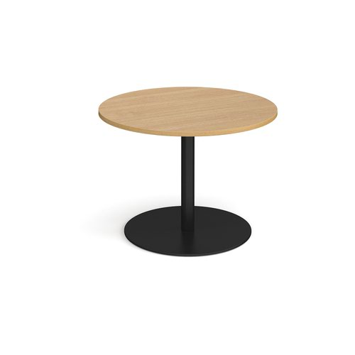 Eternal circular boardroom table 1000mm - black base and oak top