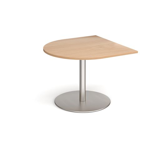 Eternal radial extension table 1000mm x 1000mm - brushed steel base and beech top