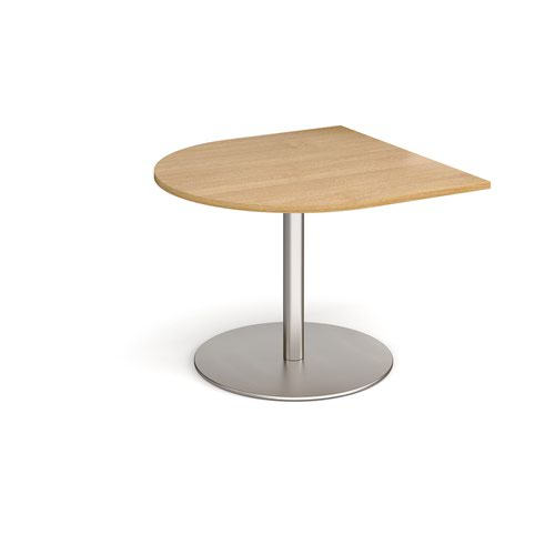 Eternal radial extension table 1000mm x 1000mm - brushed steel base and oak top
