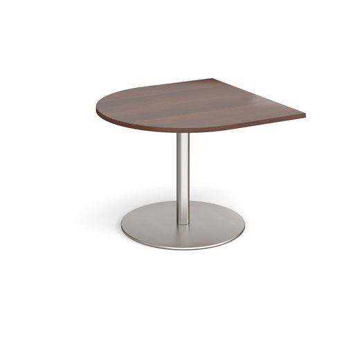 Eternal radial extension table 1000mm x 1000mm - brushed steel base and walnut top