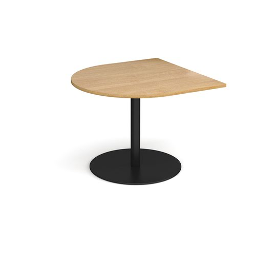 Eternal radial extension table 1000mm x 1000mm - black base and oak top