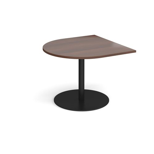 Eternal radial extension table 1000mm x 1000mm - black base and walnut top