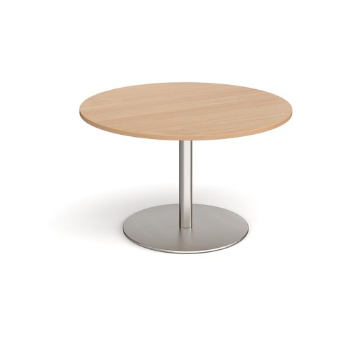 Eternal circular boardroom table 1200mm - brushed steel base and beech top