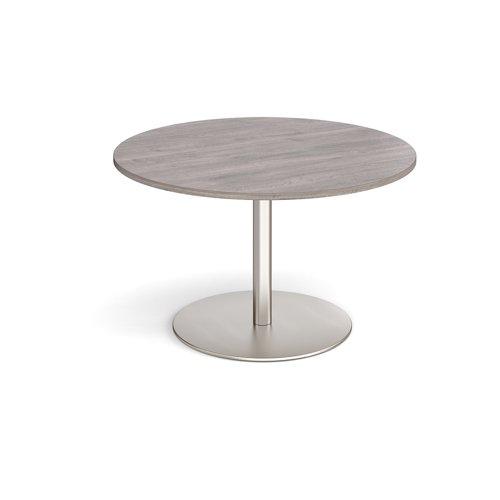 Eternal circular boardroom table 1200mm - brushed steel base and grey oak top