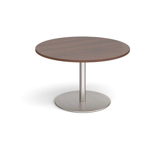 Eternal circular boardroom table 1200mm - brushed steel base and walnut top