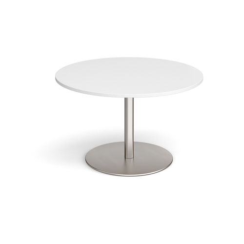 Eternal circular boardroom table 1200mm - brushed steel base and white top