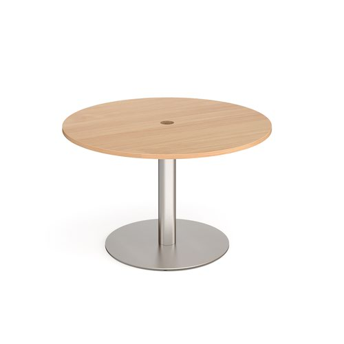 Eternal circular meeting table 1200mm with central circular cutout 80mm - brushed steel base and beech top