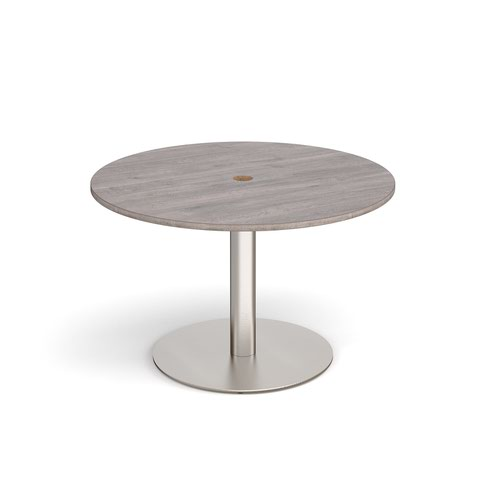 Eternal circular meeting table 1200mm with central circular cutout 80mm - brushed steel base and grey oak top