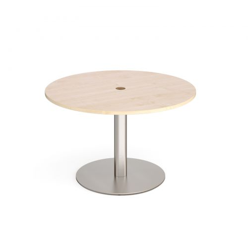 Eternal circular meeting table 1200mm with central circular cutout 80mm - brushed steel base and maple top