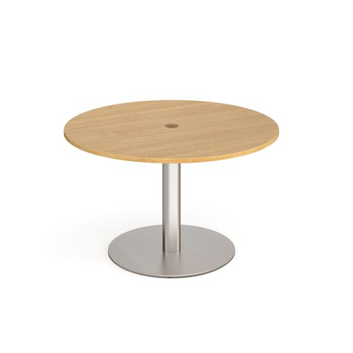 Eternal circular meeting table 1200mm with central circular cutout 80mm - brushed steel base and oak top