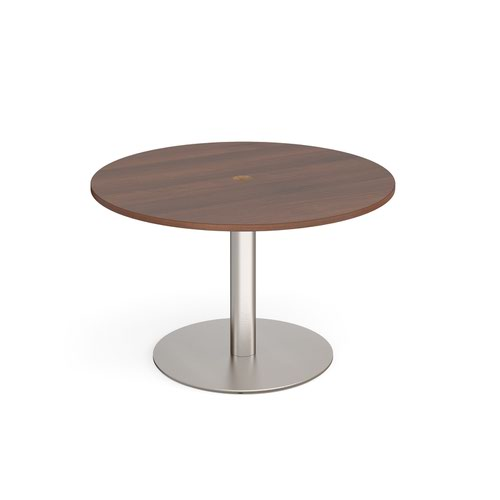 Eternal circular meeting table 1200mm with central circular cutout 80mm - brushed steel base and walnut top