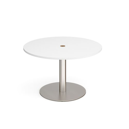 Eternal circular meeting table 1200mm with central circular cutout 80mm - brushed steel base and white top