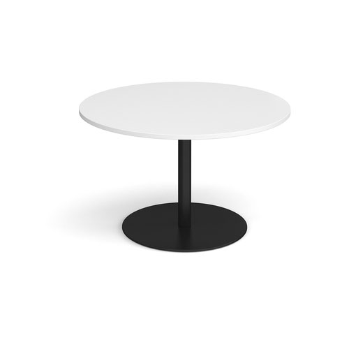 Eternal circular boardroom table 1200mm - black base and white top