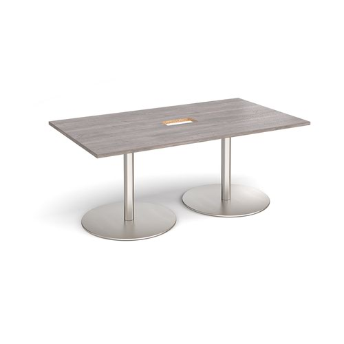 Eternal rectangular boardroom table 1800mm x 1000mm with central cutout 272mm x 132mm - brushed steel base and grey oak top